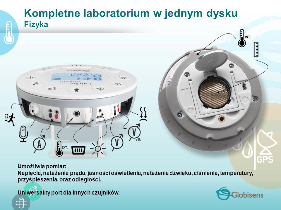 Kompletne laboratorium w jednym dysku Fizyka Umożliwia pomiar: Napięcia, natężenia prądu, jasności oświetlenia, natężenia dźwięku, ciśnienia, temperatury, przyśpieszenia, oraz odległości.