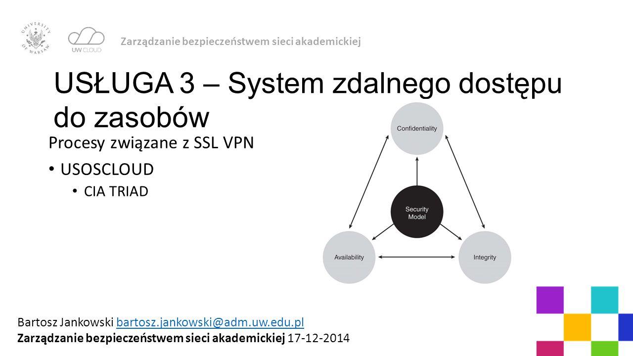 Procesy związane z SSL VPN USOSCLOUD CIA TRIAD Zarządzanie bezpieczeństwem sieci akademickiej USŁUGA 3 – System zdalnego dostępu do zasobów Bartosz Ja