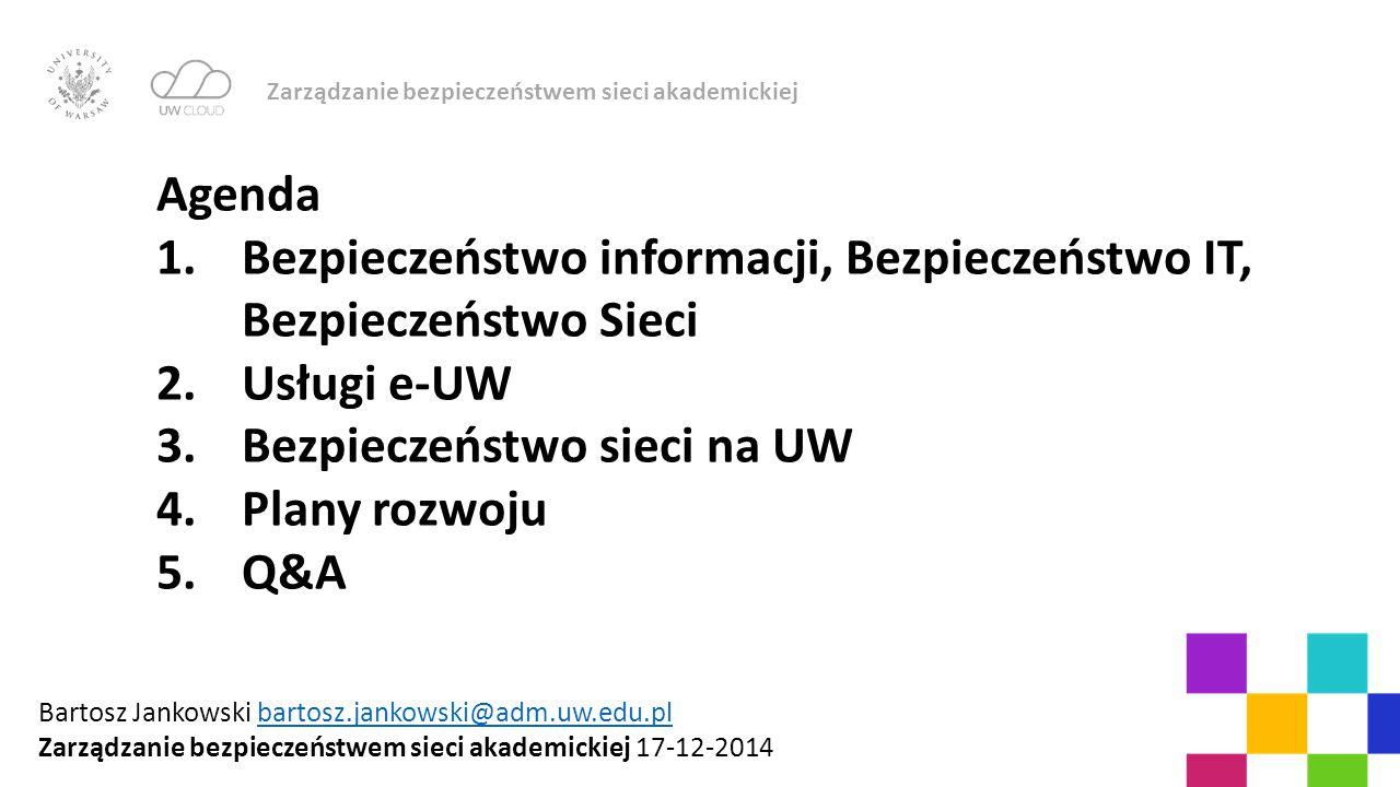 Zarządzanie bezpieczeństwem sieci akademickiej Agenda 1.Bezpieczeństwo informacji, Bezpieczeństwo IT, Bezpieczeństwo Sieci 2.Usługi e-UW 3.Bezpieczeńs