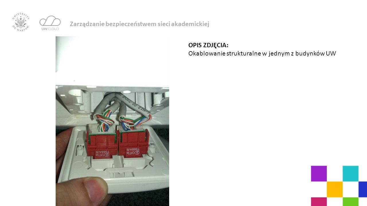 Zarządzanie bezpieczeństwem sieci akademickiej OPIS ZDJĘCIA: Okablowanie strukturalne w jednym z budynków UW