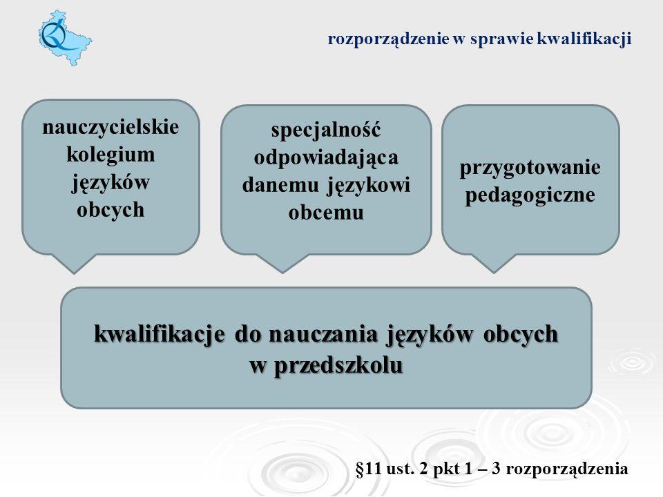 rozporządzenie w sprawie kwalifikacji kwalifikacje do nauczania języków obcych w przedszkolu nauczycielskie kolegium języków obcych specjalność odpowi