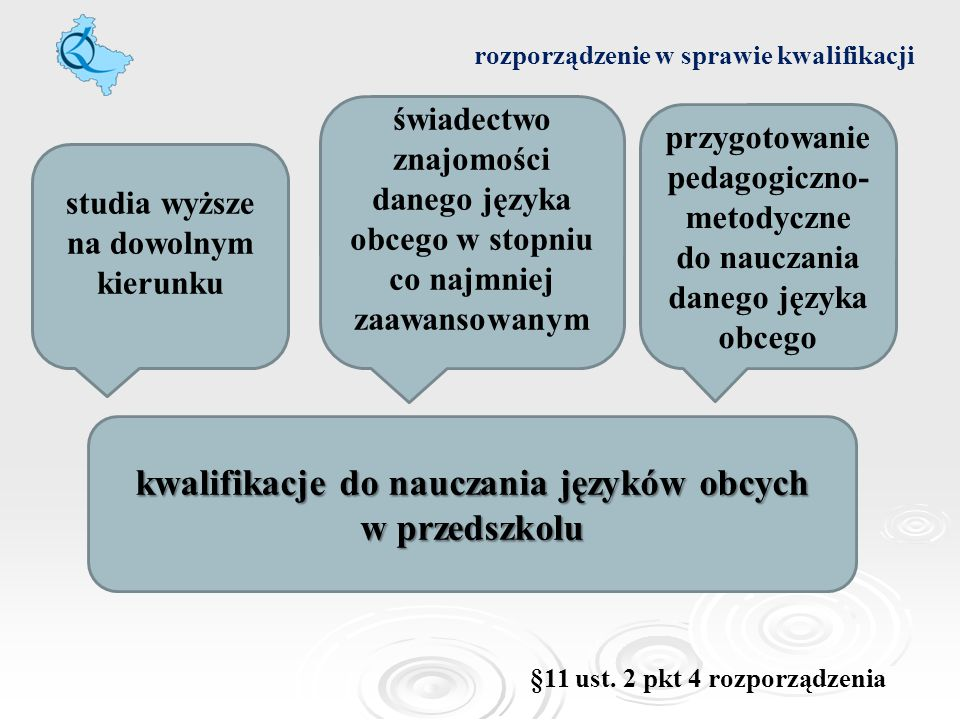 rozporządzenie w sprawie kwalifikacji kwalifikacje do nauczania języków obcych w przedszkolu studia wyższe na dowolnym kierunku świadectwo znajomości