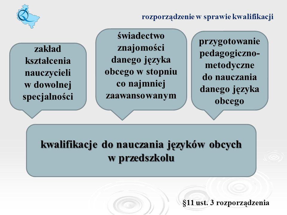 rozporządzenie w sprawie kwalifikacji kwalifikacje do nauczania języków obcych w przedszkolu zakład kształcenia nauczycieli w dowolnej specjalności św
