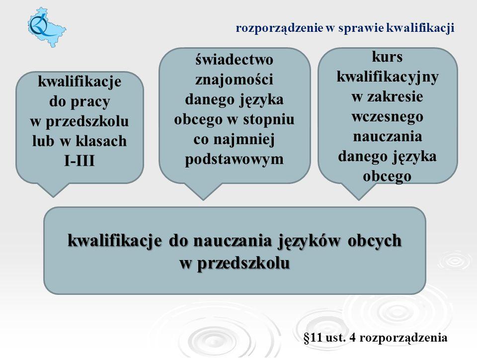 rozporządzenie w sprawie kwalifikacji kwalifikacje do nauczania języków obcych w przedszkolu kwalifikacje do pracy w przedszkolu lub w klasach I-III ś