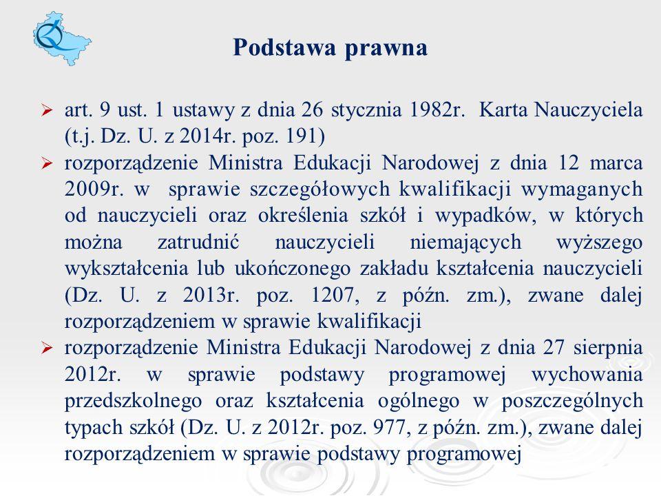 Podstawa prawna   art. 9 ust. 1 ustawy z dnia 26 stycznia 1982r. Karta Nauczyciela (t.j. Dz. U. z 2014r. poz. 191)   rozporządzenie Ministra Eduka