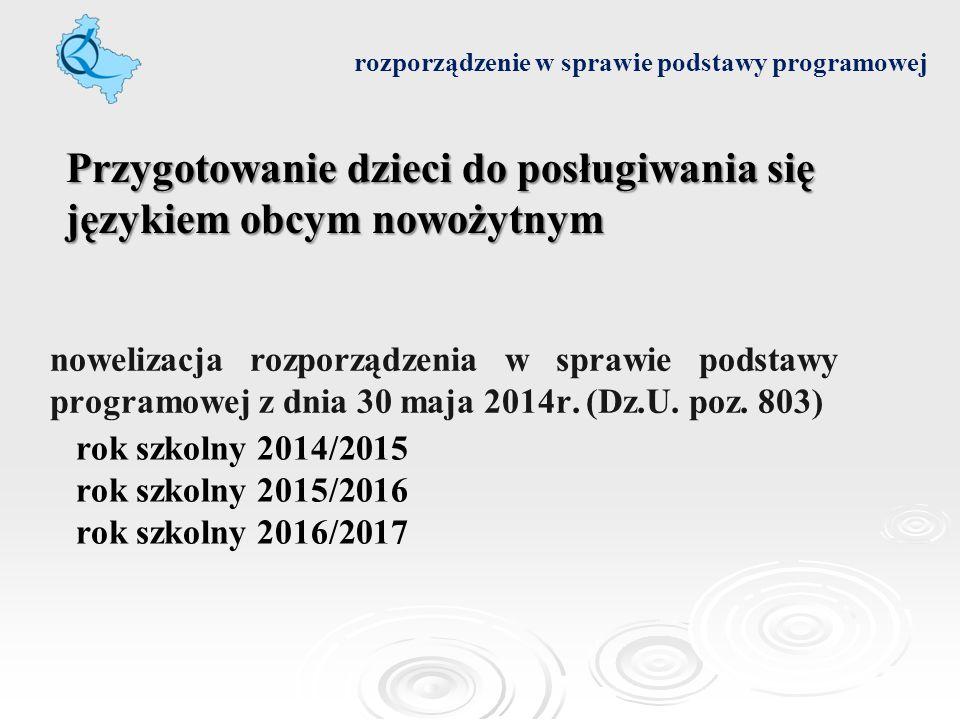 nowelizacja rozporządzenia w sprawie podstawy programowej z dnia 30 maja 2014r. (Dz.U. poz. 803) rozporządzenie w sprawie podstawy programowej rok szk