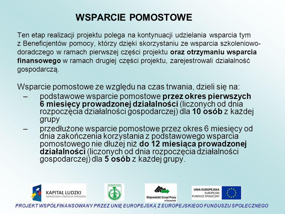 WSPARCIE POMOSTOWE Ten etap realizacji projektu polega na kontynuacji udzielania wsparcia tym z Beneficjentów pomocy, którzy dzięki skorzystaniu ze wsparcia szkoleniowo- doradczego w ramach pierwszej części projektu oraz otrzymaniu wsparcia finansowego w ramach drugiej części projektu, zarejestrowali działalność gospodarczą.