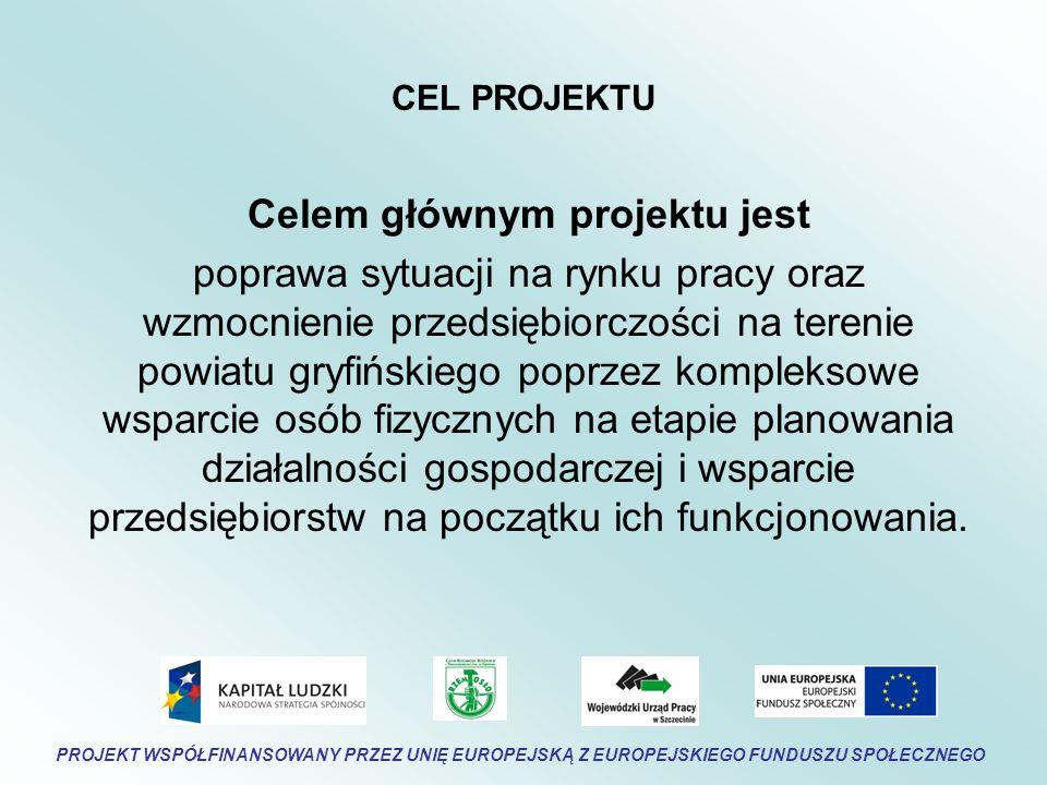 CEL PROJEKTU Celem głównym projektu jest poprawa sytuacji na rynku pracy oraz wzmocnienie przedsiębiorczości na terenie powiatu gryfińskiego poprzez kompleksowe wsparcie osób fizycznych na etapie planowania działalności gospodarczej i wsparcie przedsiębiorstw na początku ich funkcjonowania.
