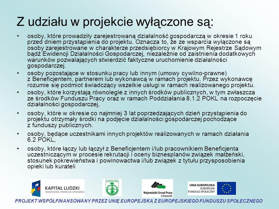 Z udziału w projekcie wyłączone są: osoby, które prowadziły zarejestrowaną działalność gospodarczą w okresie 1 roku przed dniem przystąpienia do projektu.