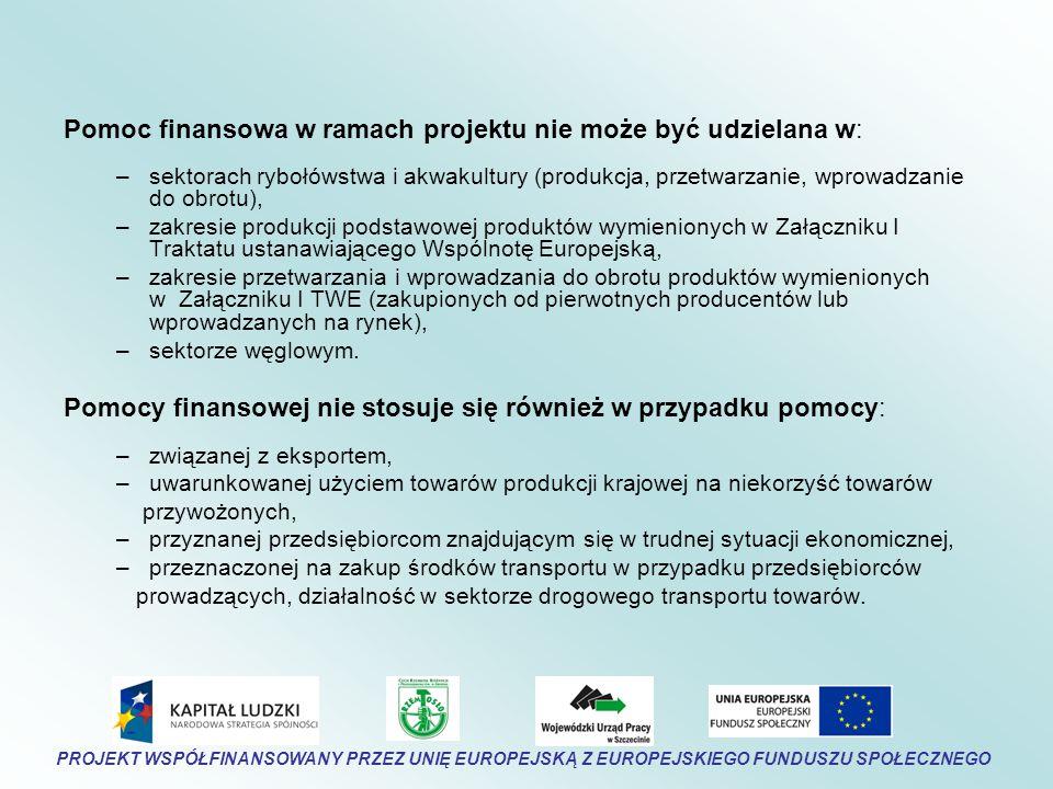 Pomoc finansowa w ramach projektu nie może być udzielana w: –sektorach rybołówstwa i akwakultury (produkcja, przetwarzanie, wprowadzanie do obrotu), –zakresie produkcji podstawowej produktów wymienionych w Załączniku I Traktatu ustanawiającego Wspólnotę Europejską, –zakresie przetwarzania i wprowadzania do obrotu produktów wymienionych w Załączniku I TWE (zakupionych od pierwotnych producentów lub wprowadzanych na rynek), –sektorze węglowym.