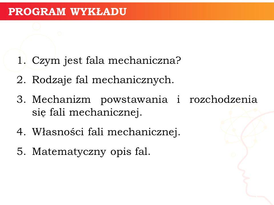 PROGRAM WYKŁADU 1.Czym jest fala mechaniczna.2.Rodzaje fal mechanicznych.
