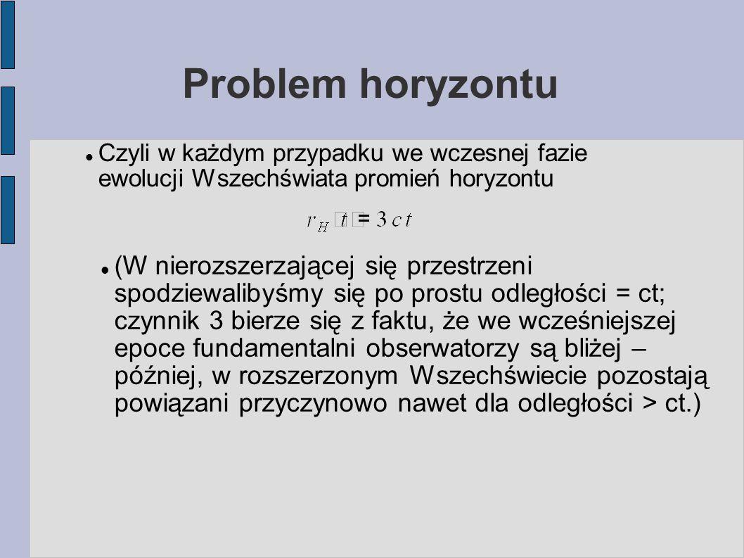 Problem horyzontu Czyli w każdym przypadku we wczesnej fazie ewolucji Wszechświata promień horyzontu (W nierozszerzającej się przestrzeni spodziewalib
