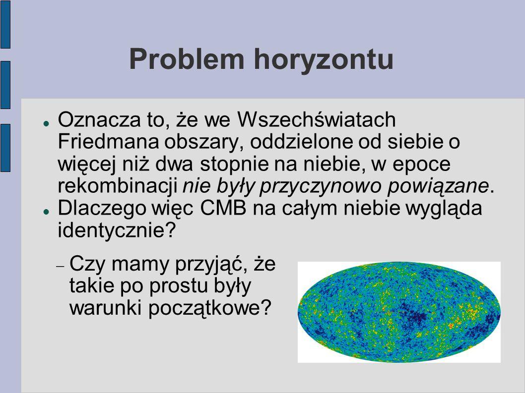Problem horyzontu Oznacza to, że we Wszechświatach Friedmana obszary, oddzielone od siebie o więcej niż dwa stopnie na niebie, w epoce rekombinacji nie były przyczynowo powiązane.