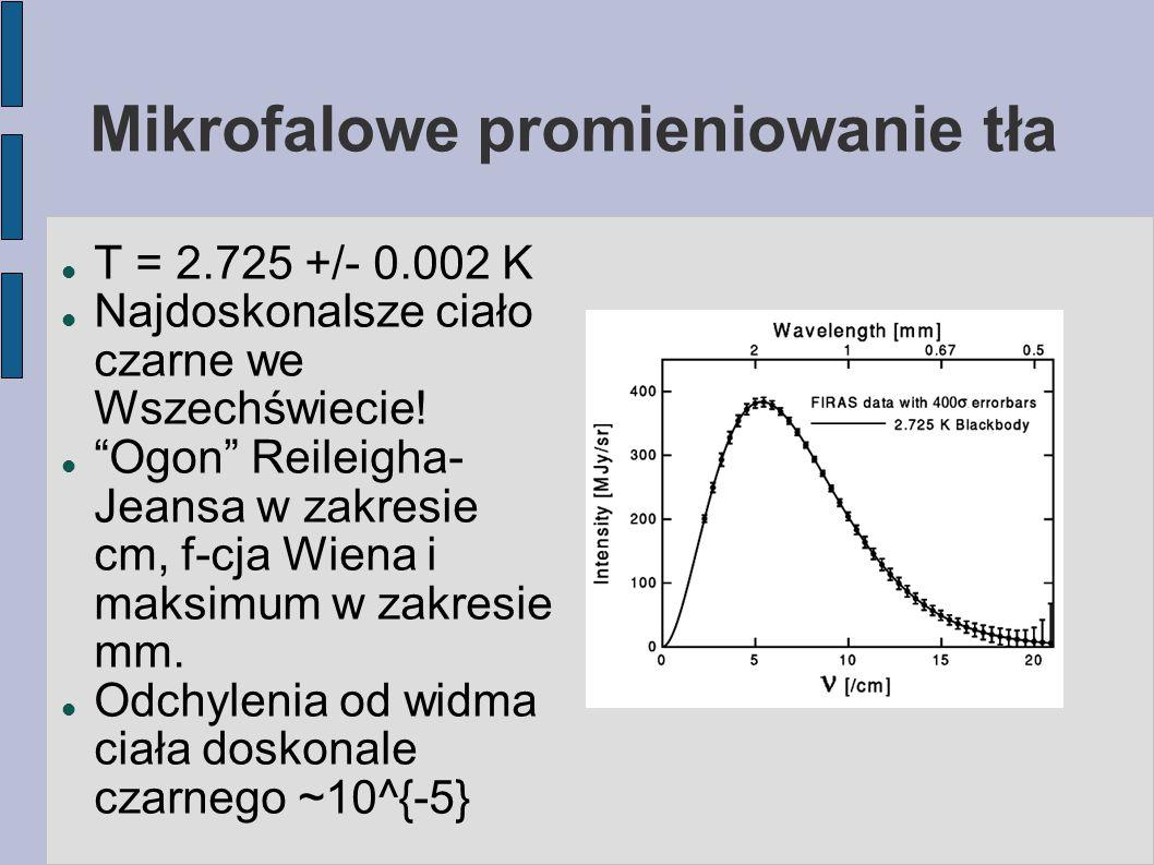 """Mikrofalowe promieniowanie tła T = 2.725 +/- 0.002 K Najdoskonalsze ciało czarne we Wszechświecie! """"Ogon"""" Reileigha- Jeansa w zakresie cm, f-cja Wiena"""