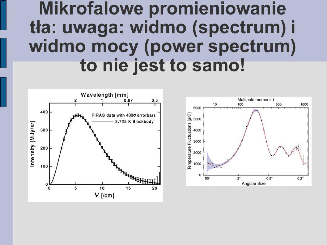 Mikrofalowe promieniowanie tła: uwaga: widmo (spectrum) i widmo mocy (power spectrum) to nie jest to samo!