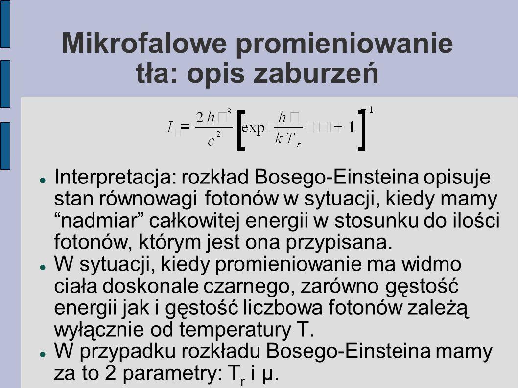 """Mikrofalowe promieniowanie tła: opis zaburzeń Interpretacja: rozkład Bosego-Einsteina opisuje stan równowagi fotonów w sytuacji, kiedy mamy """"nadmiar"""""""