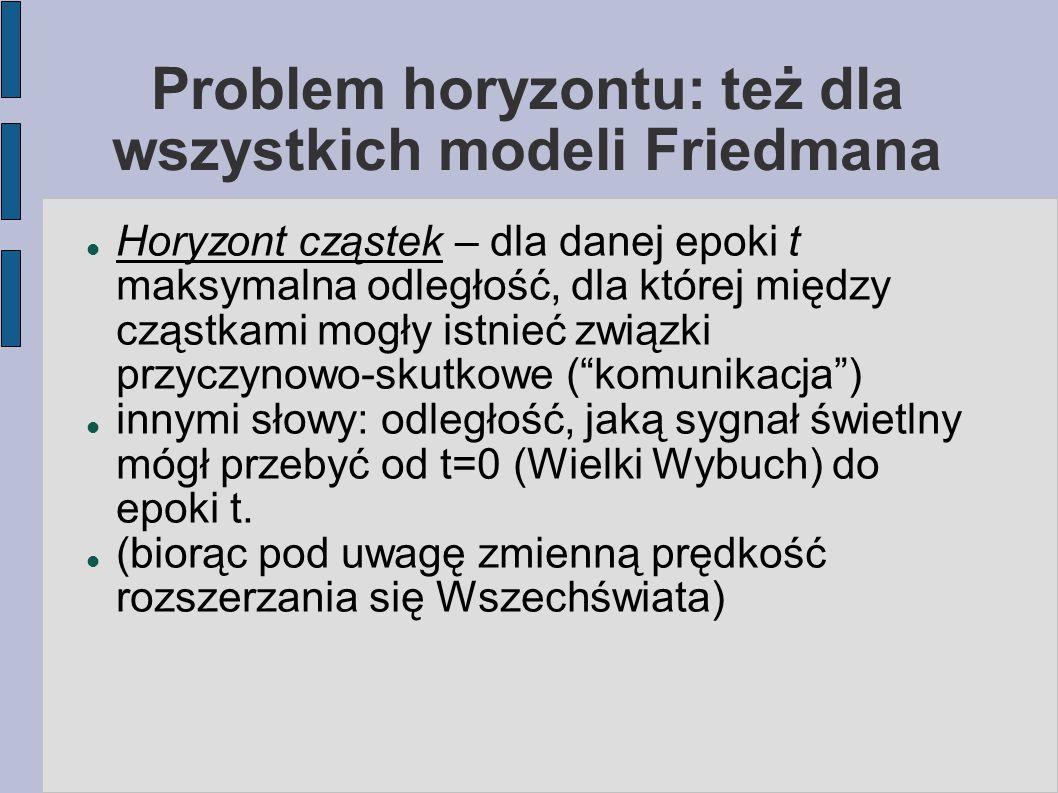 Problem horyzontu: też dla wszystkich modeli Friedmana Horyzont cząstek – dla danej epoki t maksymalna odległość, dla której między cząstkami mogły is