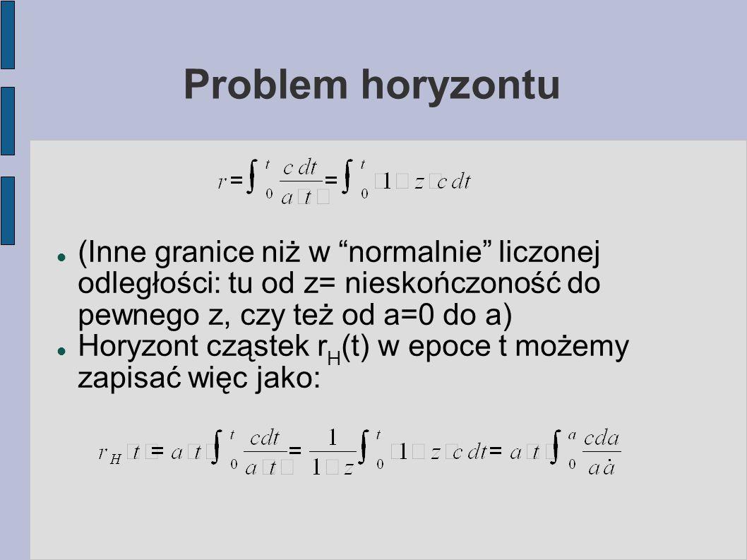 Problem horyzontu (Inne granice niż w normalnie liczonej odległości: tu od z= nieskończoność do pewnego z, czy też od a=0 do a) Horyzont cząstek r H (t) w epoce t możemy zapisać więc jako: