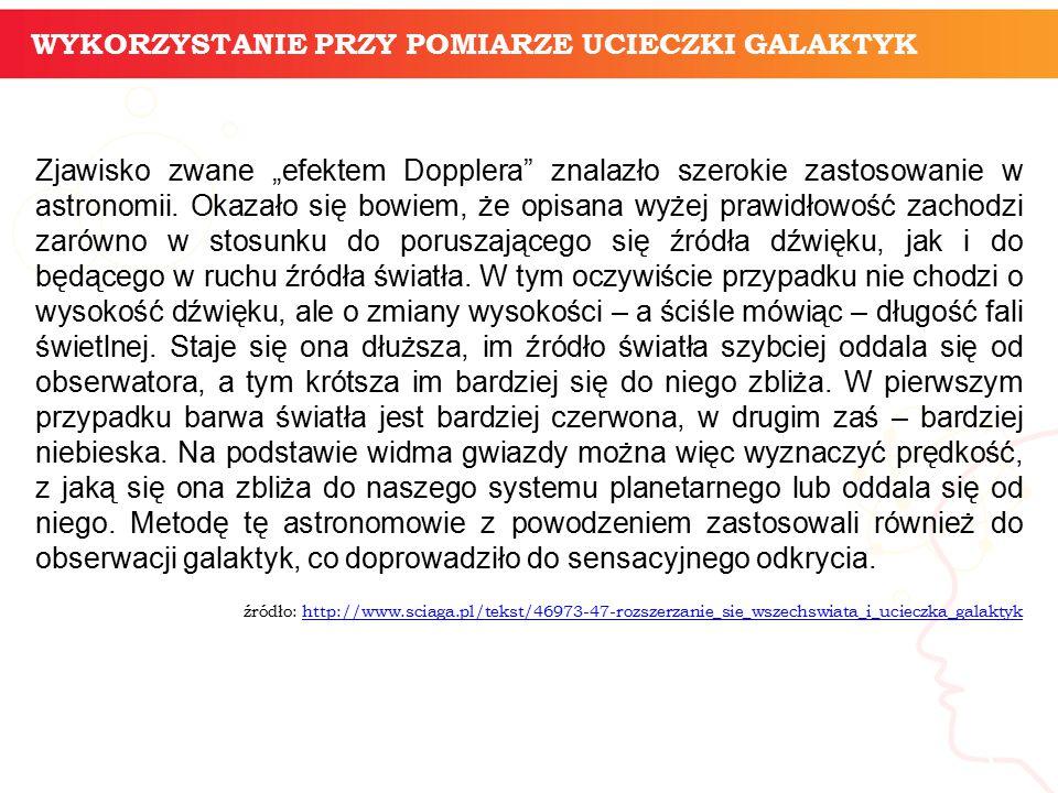 """Zjawisko zwane """"efektem Dopplera znalazło szerokie zastosowanie w astronomii."""