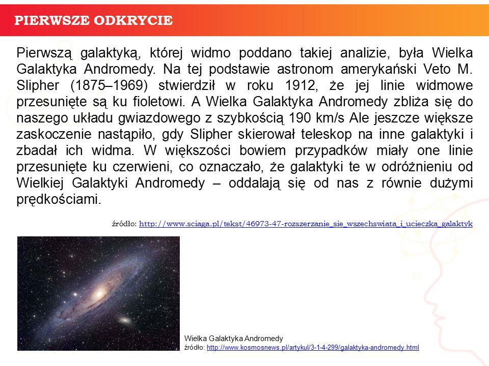 Pierwszą galaktyką, której widmo poddano takiej analizie, była Wielka Galaktyka Andromedy.