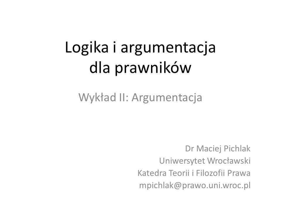 Logika i argumentacja dla prawników Wykład II: Argumentacja Dr Maciej Pichlak Uniwersytet Wrocławski Katedra Teorii i Filozofii Prawa mpichlak@prawo.u