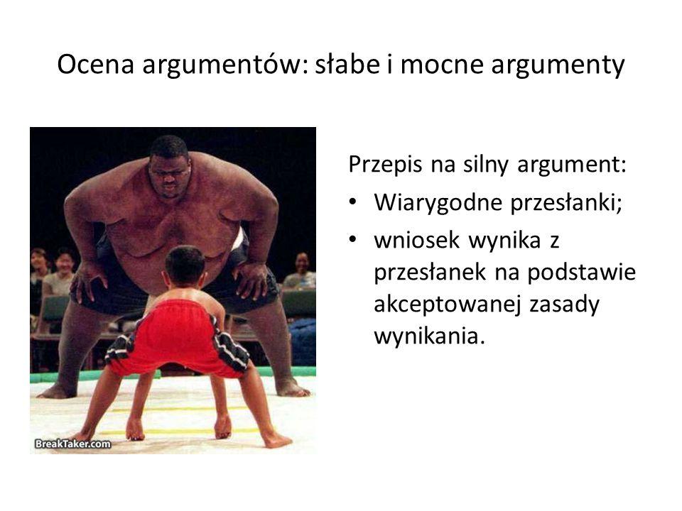 Ocena argumentów: słabe i mocne argumenty Przepis na silny argument: Wiarygodne przesłanki; wniosek wynika z przesłanek na podstawie akceptowanej zasa