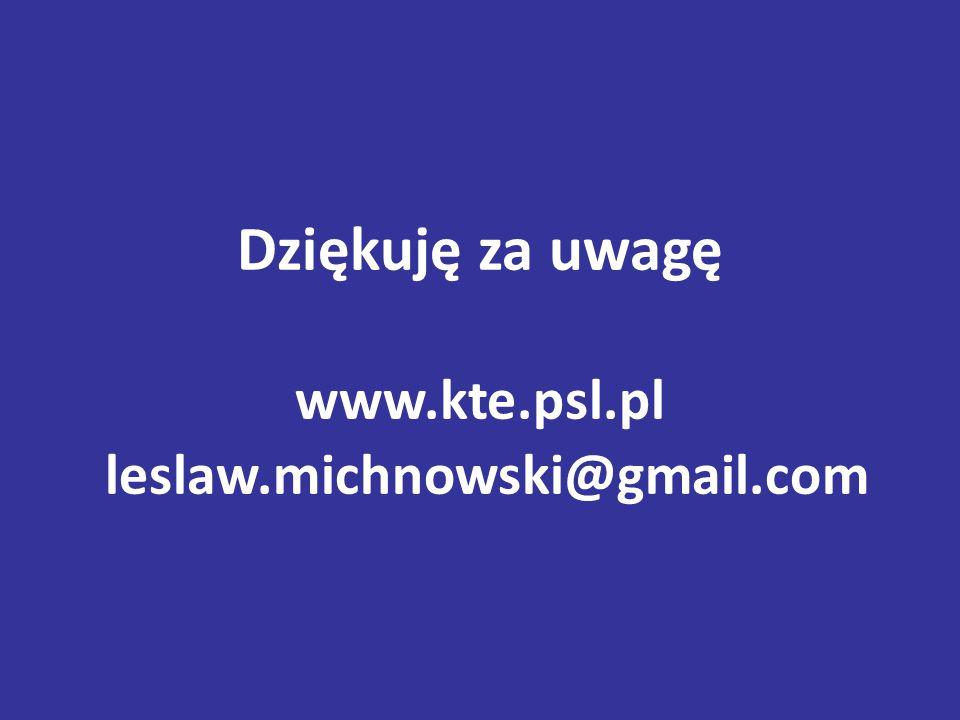 Dziękuję za uwagę www.kte.psl.pl leslaw.michnowski@gmail.com