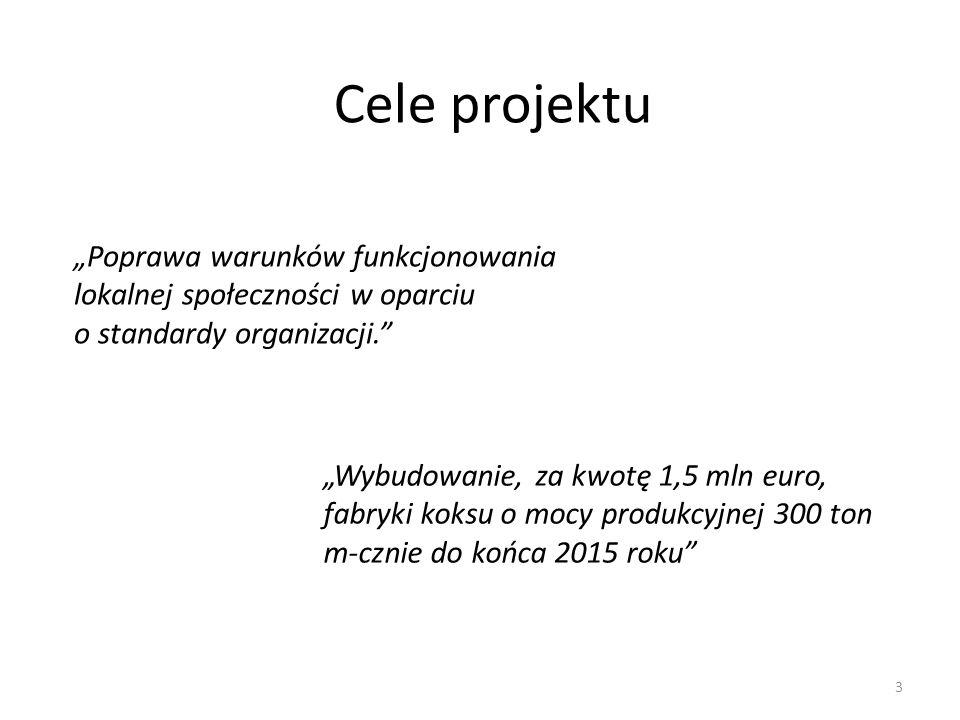 """3 Cele projektu """"Poprawa warunków funkcjonowania lokalnej społeczności w oparciu o standardy organizacji. """"Wybudowanie, za kwotę 1,5 mln euro, fabryki koksu o mocy produkcyjnej 300 ton m-cznie do końca 2015 roku"""