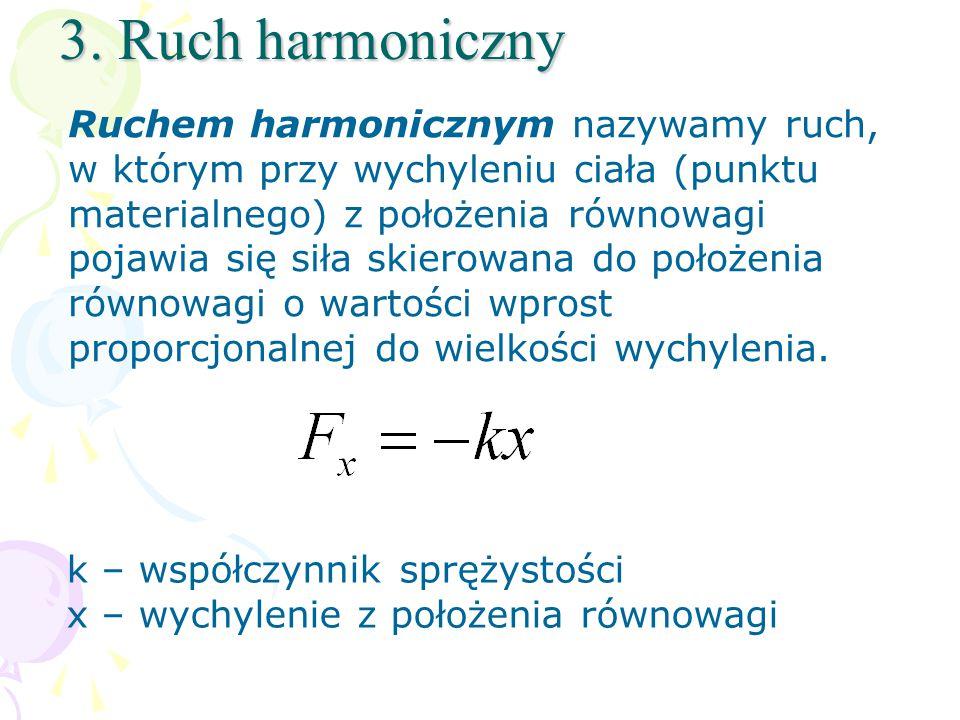 3. Ruch harmoniczny Ruchem harmonicznym nazywamy ruch, w którym przy wychyleniu ciała (punktu materialnego) z położenia równowagi pojawia się siła ski