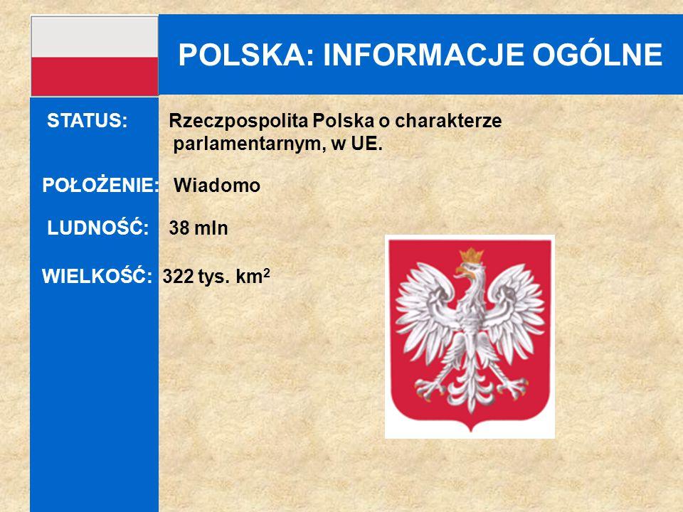 POLSKA: INFORMACJE OGÓLNE POŁOŻENIE: Wiadomo LUDNOŚĆ: 38 mln WIELKOŚĆ: 322 tys. km 2 STATUS: Rzeczpospolita Polska o charakterze parlamentarnym, w UE.