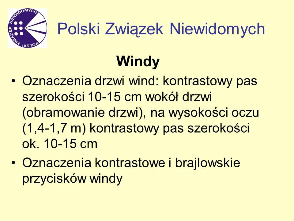 Windy Oznaczenia drzwi wind: kontrastowy pas szerokości 10-15 cm wokół drzwi (obramowanie drzwi), na wysokości oczu (1,4-1,7 m) kontrastowy pas szerokości ok.