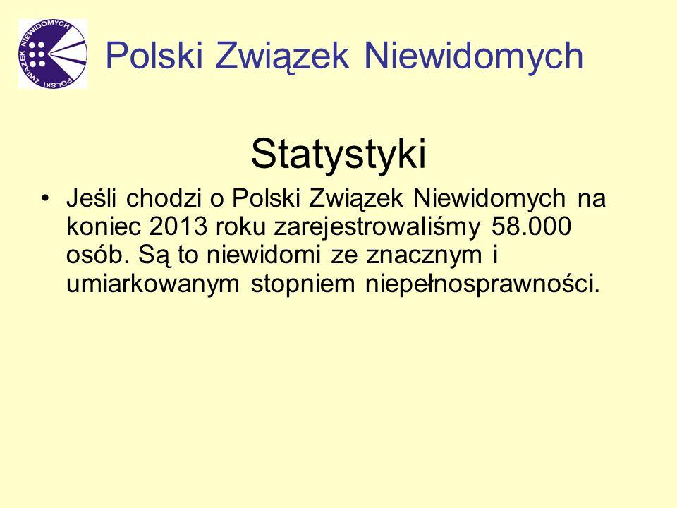 Statystyki Jeśli chodzi o Polski Związek Niewidomych na koniec 2013 roku zarejestrowaliśmy 58.000 osób.