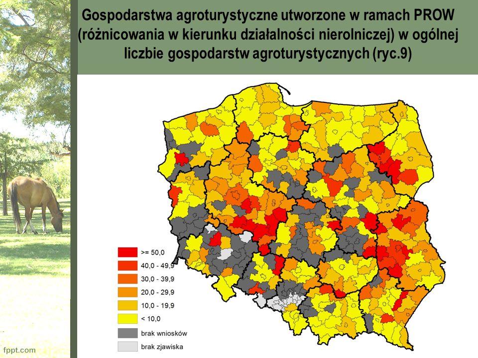 Gospodarstwa agroturystyczne utworzone w ramach PROW (różnicowania w kierunku działalności nierolniczej) w ogólnej liczbie gospodarstw agroturystyczny