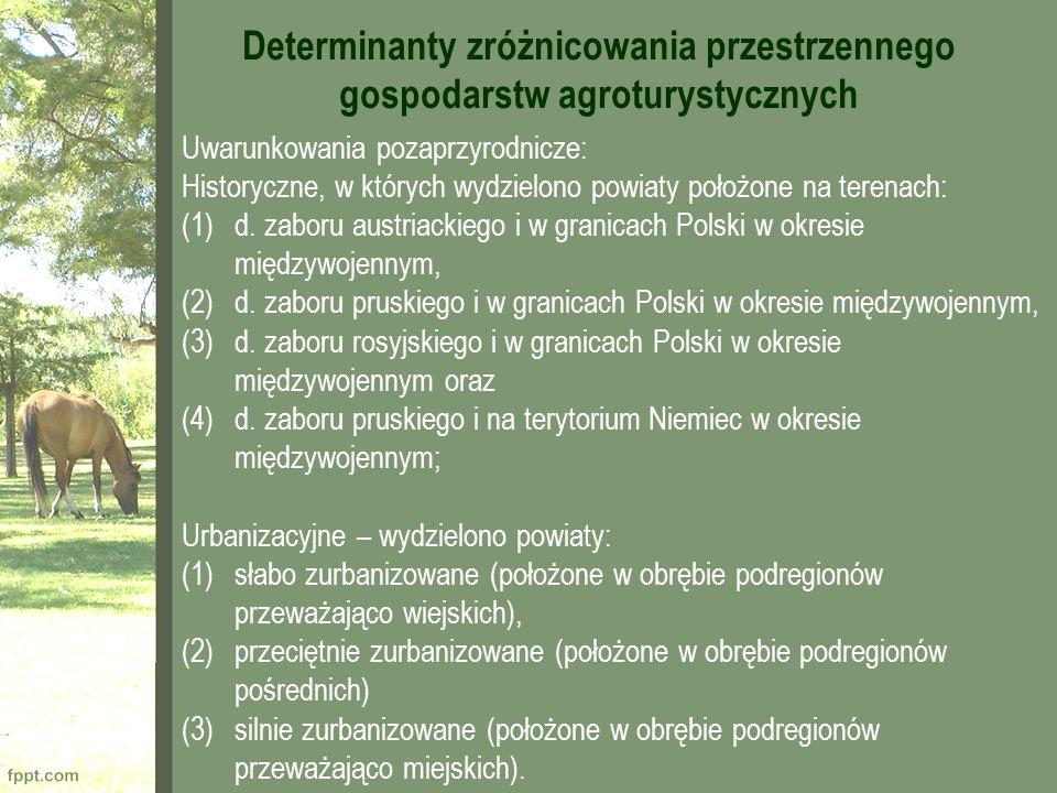 Uwarunkowania pozaprzyrodnicze: Historyczne, w których wydzielono powiaty położone na terenach: (1)d. zaboru austriackiego i w granicach Polski w okre