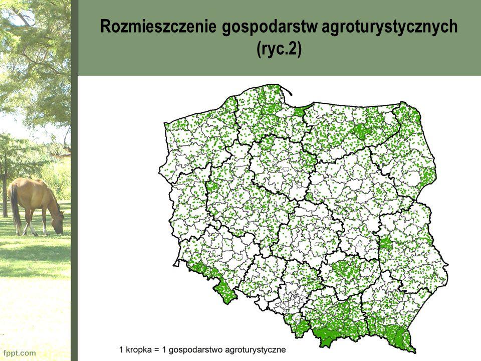 Rozmieszczenie gospodarstw agroturystycznych (ryc.2)