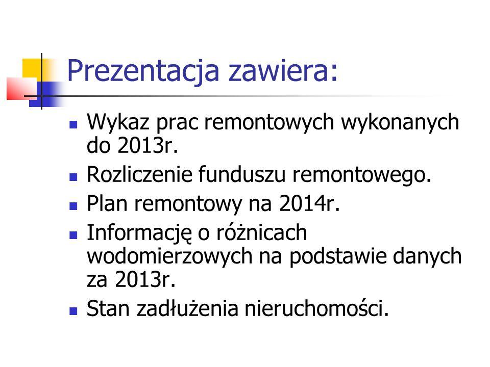 Prezentacja zawiera: Wykaz prac remontowych wykonanych do 2013r. Rozliczenie funduszu remontowego. Plan remontowy na 2014r. Informację o różnicach wod