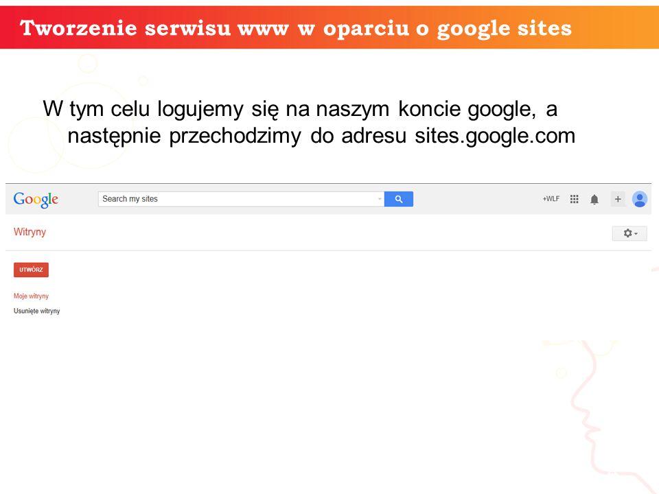 W tym celu logujemy się na naszym koncie google, a następnie przechodzimy do adresu sites.google.com informatyka + 4 Tworzenie serwisu www w oparciu o google sites