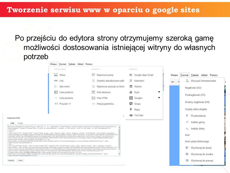 Po przejściu do edytora strony otrzymujemy szeroką gamę możliwości dostosowania istniejącej witryny do własnych potrzeb informatyka + 8 Tworzenie serwisu www w oparciu o google sites