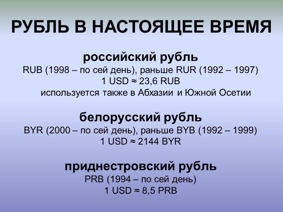 РУБЛЬ В НАСТОЯЩЕЕ ВРЕМЯ российский рубль RUB (1998 – по сей день), раньше RUR (1992 – 1997) 1 USD ≈ 23,6 RUB используется также в Абхазии и Южной Осетии белорусский рубль BYR (2000 – по сей день), раньше BYB (1992 – 1999) 1 USD ≈ 2144 BYR приднестровский рубль PRB (1994 – по сей день) 1 USD ≈ 8,5 PRB