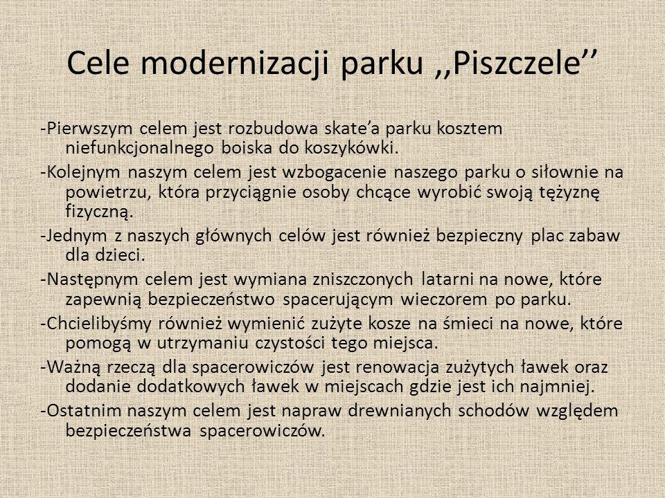 Cele modernizacji parku,,Piszczele'' -Pierwszym celem jest rozbudowa skate'a parku kosztem niefunkcjonalnego boiska do koszykówki. -Kolejnym naszym ce