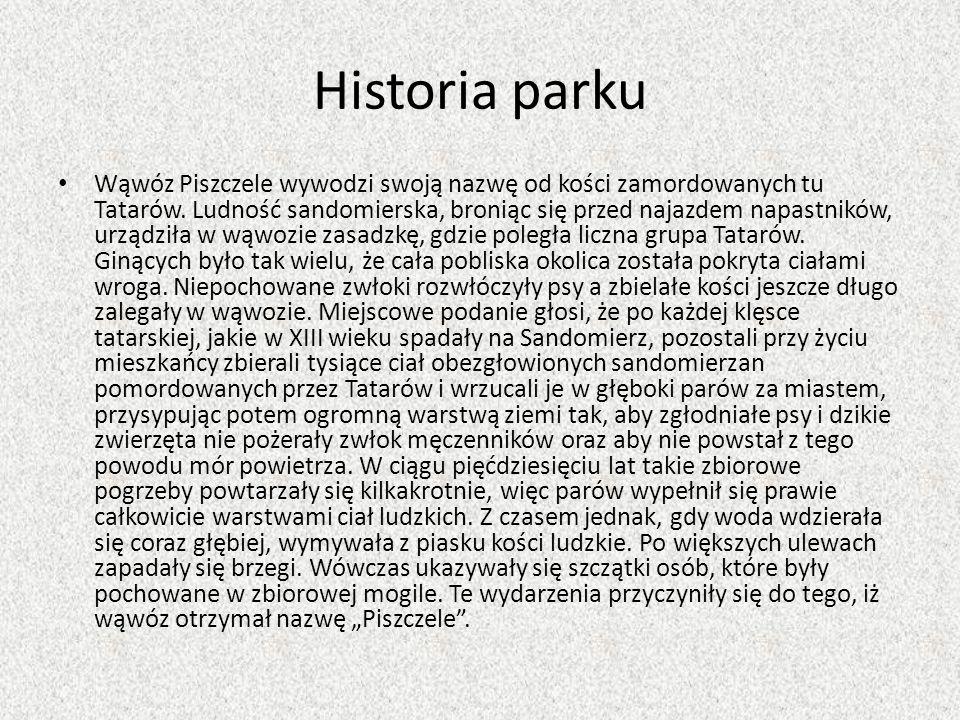 Historia parku Wąwóz Piszczele wywodzi swoją nazwę od kości zamordowanych tu Tatarów. Ludność sandomierska, broniąc się przed najazdem napastników, ur