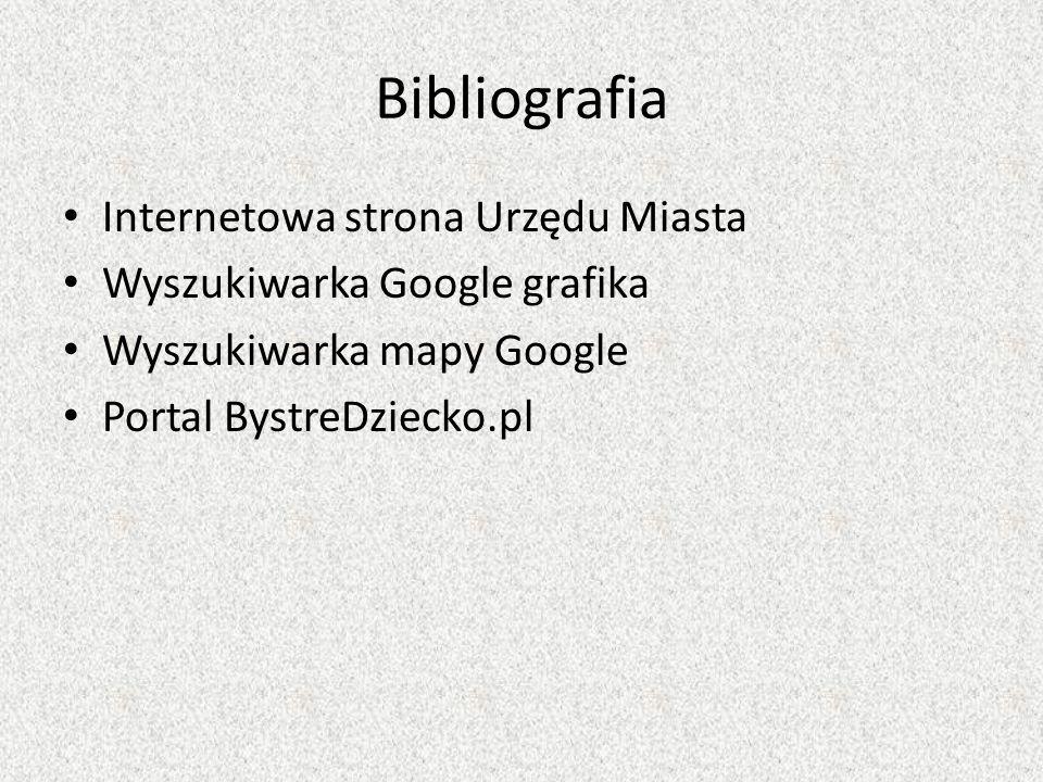 Bibliografia Internetowa strona Urzędu Miasta Wyszukiwarka Google grafika Wyszukiwarka mapy Google Portal BystreDziecko.pl