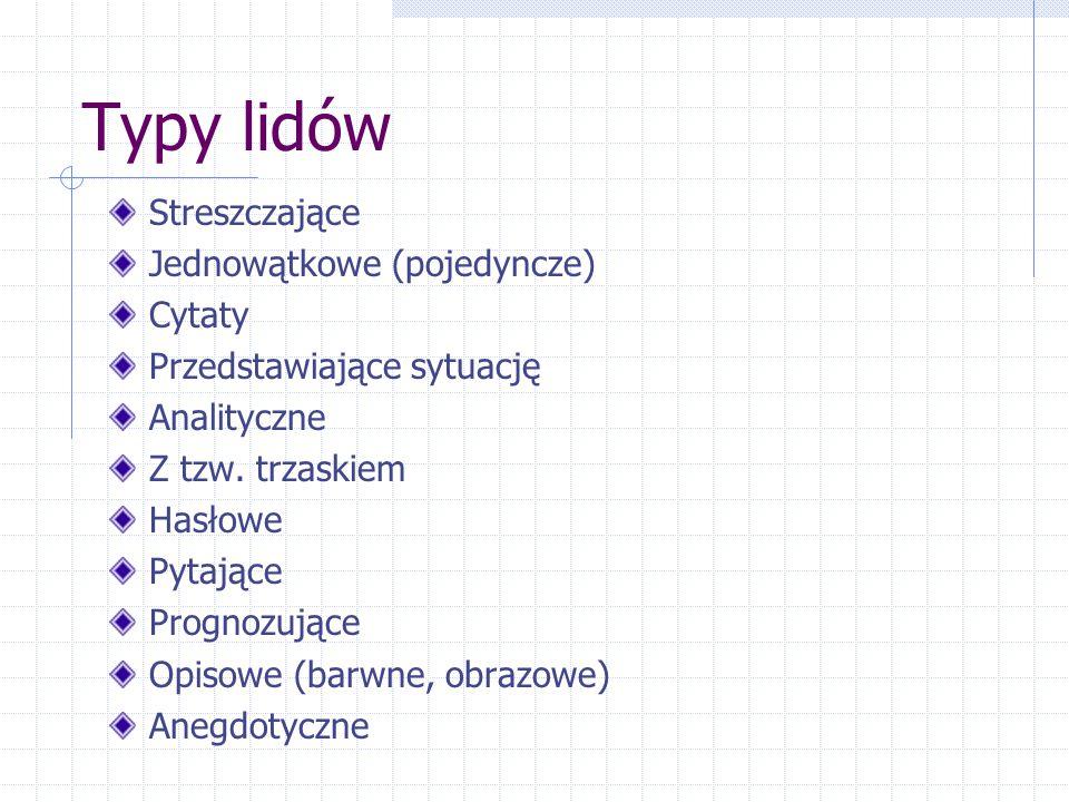 Typy lidów Streszczające Jednowątkowe (pojedyncze) Cytaty Przedstawiające sytuację Analityczne Z tzw. trzaskiem Hasłowe Pytające Prognozujące Opisowe