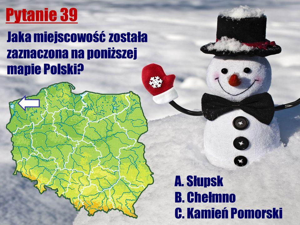 Pytanie 39 Jaka miejscowość została zaznaczona na poniższej mapie Polski? A. Słupsk B. Chełmno C. Kamień Pomorski