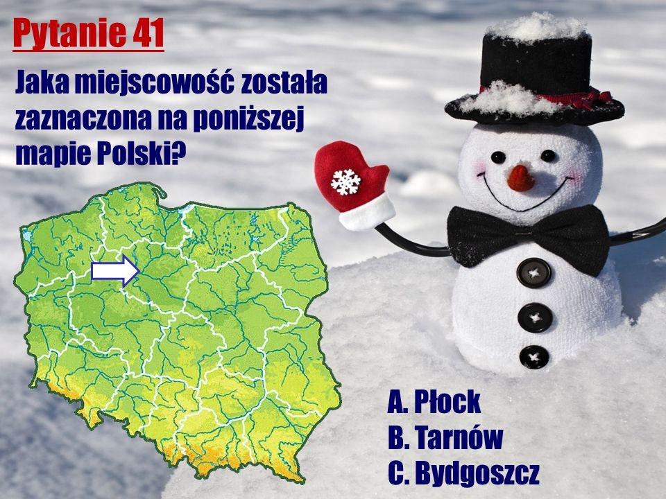 Pytanie 41 Jaka miejscowość została zaznaczona na poniższej mapie Polski? A. Płock B. Tarnów C. Bydgoszcz