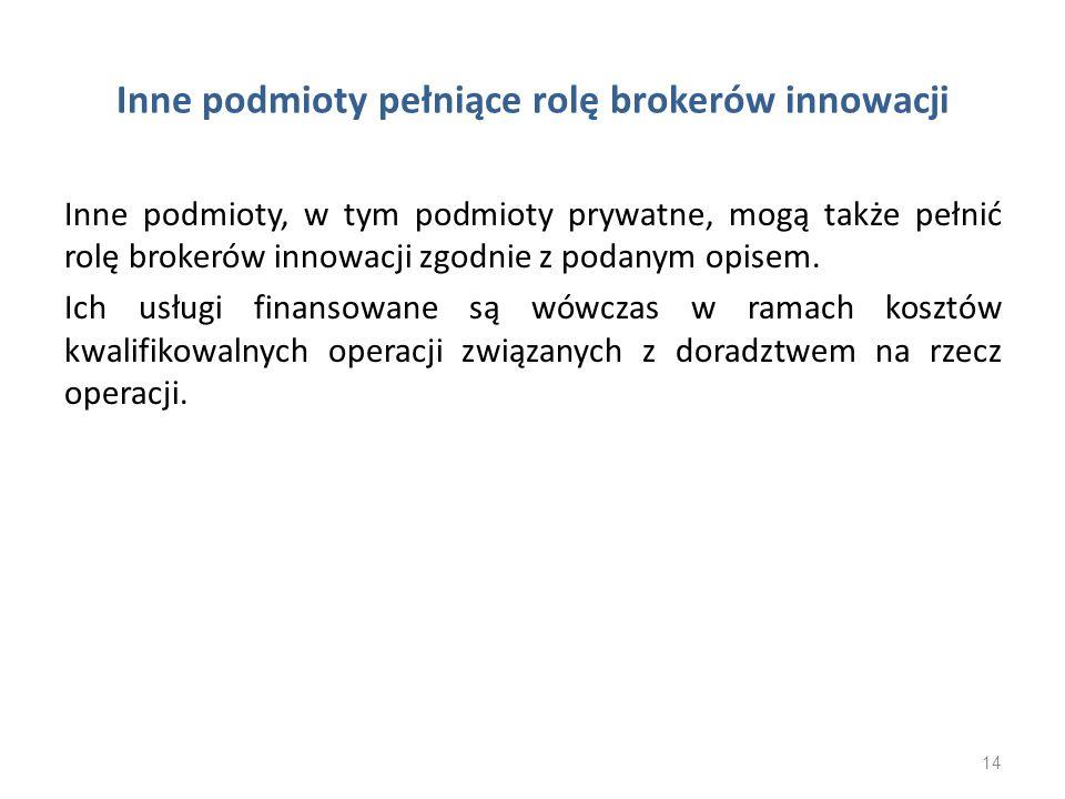 Inne podmioty pełniące rolę brokerów innowacji Inne podmioty, w tym podmioty prywatne, mogą także pełnić rolę brokerów innowacji zgodnie z podanym opi