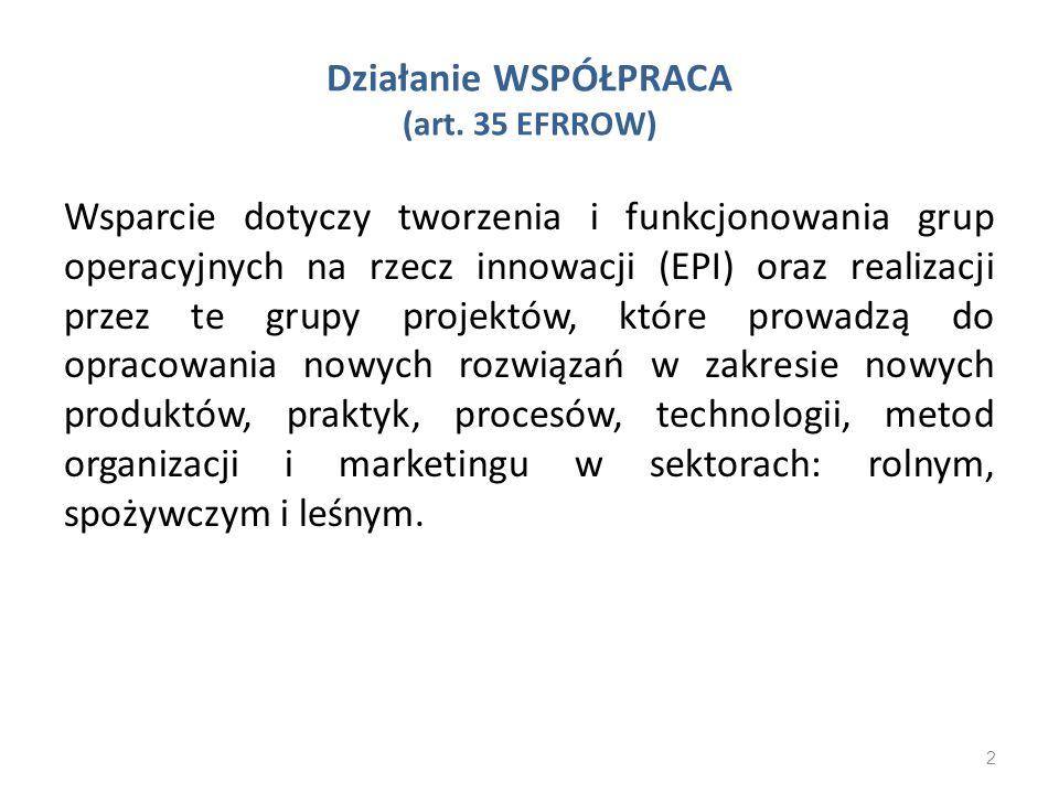 Działanie WSPÓŁPRACA (art. 35 EFRROW) Wsparcie dotyczy tworzenia i funkcjonowania grup operacyjnych na rzecz innowacji (EPI) oraz realizacji przez te