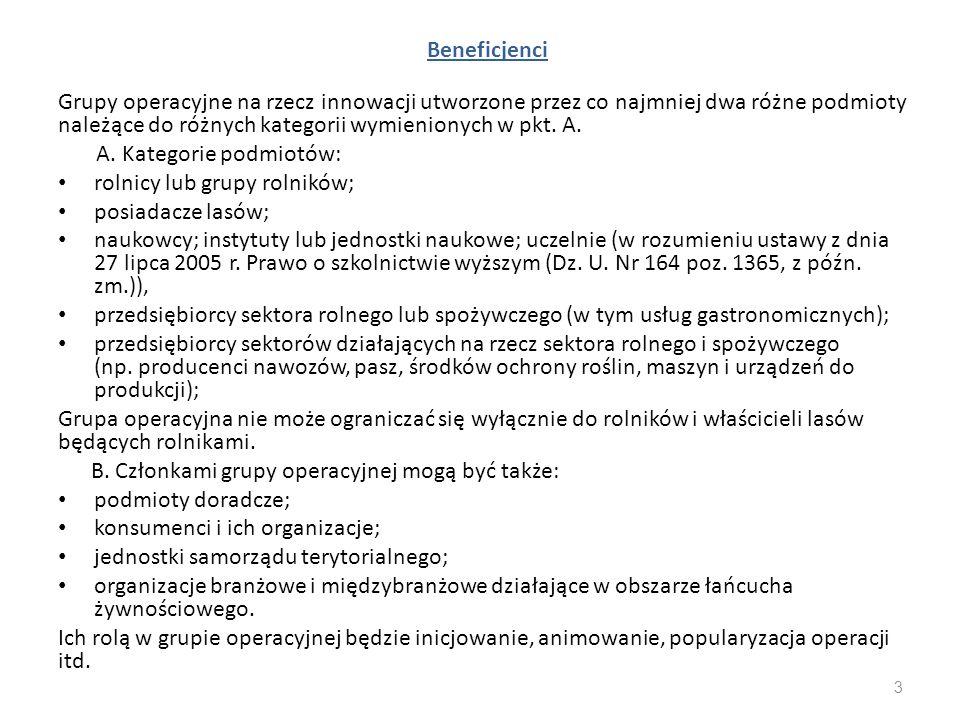 Beneficjenci Grupy operacyjne na rzecz innowacji utworzone przez co najmniej dwa różne podmioty należące do różnych kategorii wymienionych w pkt. A. A