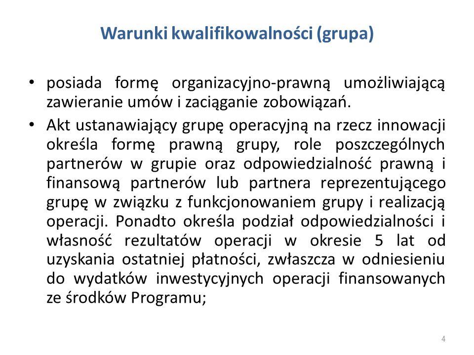 Warunki kwalifikowalności (grupa) posiada formę organizacyjno-prawną umożliwiającą zawieranie umów i zaciąganie zobowiązań. Akt ustanawiający grupę op