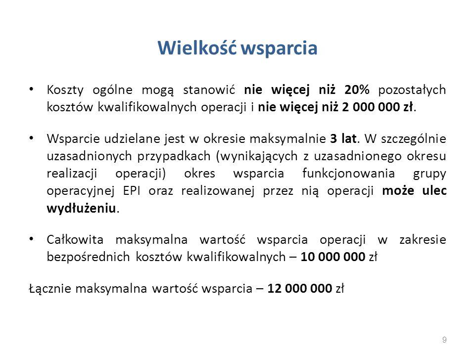 Wielkość wsparcia Koszty ogólne mogą stanowić nie więcej niż 20% pozostałych kosztów kwalifikowalnych operacji i nie więcej niż 2 000 000 zł. Wsparcie
